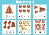 Counting Educational Children Game, Kids Activity Sheet. How Many Objects Task. Learning Mathematics poster