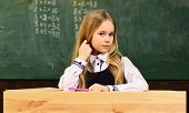 Math Lesson. Small Kid At Math Lesson. Math Lesson For Cute Child. Math Lesson At Modern School. Con poster