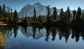 stock photo of breath taking  - This landscape photo is of Picture Lake at Heather Meadows on Mt - JPG