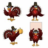 image of gobbler  - Four cartoon thanksgiving turkeys in a pilgrim hats on white background - JPG