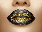 Lips make-up. Beauty high fashion trendy black with gold colour gradient lips makeup sample, sexy mo poster