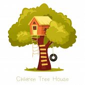 Wooden Kid House On Tree. Children Hut On Plant With Ladder And Swing As Tyre Or Tire, Wheel. Oak Wi poster