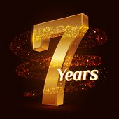 7 Years Golden Anniversary 3d Logo Celebration With Gold Glittering Spiral Star Dust Trail Sparkling poster