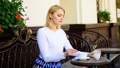 Peaceful Coffee Break. Woman Elegant Calm Face Have Drink Cafe Terrace Outdoors. Girl Drink Coffee E poster
