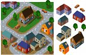 Neighborhood Isometric. Set of very detailed isometric vector