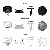 Basketball And Attributes Black, Monochrome, Outline Icons In Set Collection For Design.basketball P poster