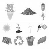 Bio And Ecology Monochrome Icons In Set Collection For Design. An Ecologically Pure Product Vector S poster