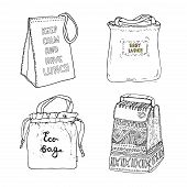 Lunch Bags, Lunch Box Collection. Eco Bag, Easy Lunch, Keep Calm And Have Lunch. Vector Hand Drawn S poster