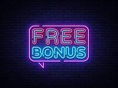 Free Bonus Neon Text Vector. Bonus Neon Sign, Design Template, Modern Trend Design, Casino Neon Sign poster