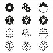 Gears, Cogs Wheels Or Sprocket Icon Set. Gear Wheels With Arrows. Vector Illustration. poster