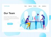 Landing Page Template Of Work Team. Discussion Of The Companys Business Strategy. Modern Flat Desig poster