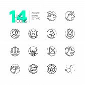 Zodiac Signs - Set Of Line Design Style Icons Isolated On White Background. Black Pictograms With Ar poster