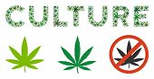 Culture Label Mosaic Of Weed Leaves In Different Sizes And Green Tones. Vector Flat Weed Symbols Are poster