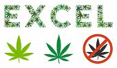 Excel Text Collage Of Hemp Leaves In Various Sizes And Green Hues. Vector Flat Cannabis Leaves Are U poster