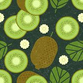 Kiwi Seamless Pattern. Whole And Sliced Kiwi Fruits With Leaves And Flowers On Shabby Background. Or poster