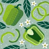 Bell Pepper Seamless Pattern. Whole And Sliced Green Pepper With Leaves And Flowers On Shabby Backgr poster