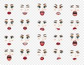 Comic Emotions. Women Facial Expressions, Gestures, Emotions Happiness Surprise Disgust Sadness Rapt poster