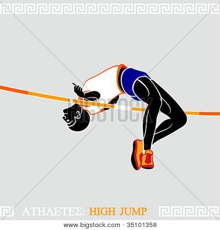 Greek art stylized athlete jumping high over crossbar