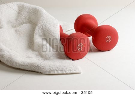 Pair Of Dumbells And Sweat Towel - Workout Gear