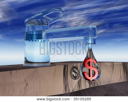 High resolution concept or conceptual abstract tap with a drop falling over blue sky background as a metaphor for money,dollar,crisis,finance,economy,waste,banking,business,loss,source,wealth or rich