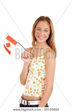 Happy teen girl celebrating Canada day