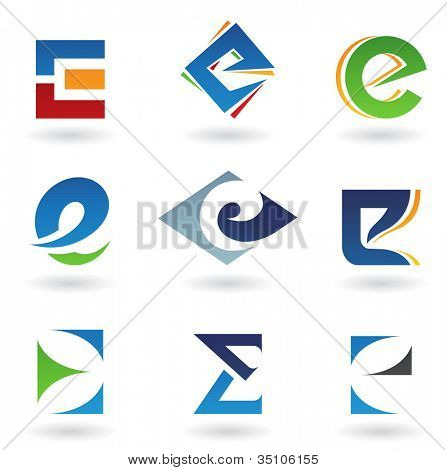 illustration of abstract icons based on the letter E