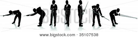 set of snooker player silhouettes