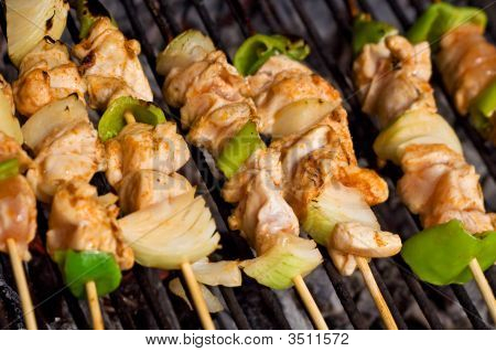 Meat And Vegetables On Barbecue Sticks