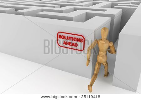 Wooden Dummy Runing To Solution In Labyrinth