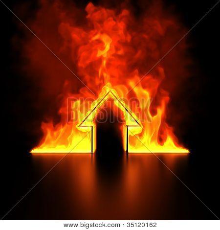 Burning house shape concept