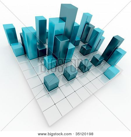 Abstract silver and blue metallic cubes
