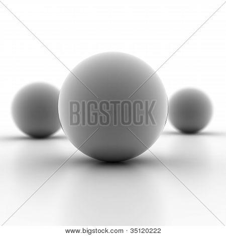 Blank gray metallic spheres