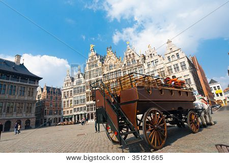 Horse Drawn Carriage Grote Markt Antwerp