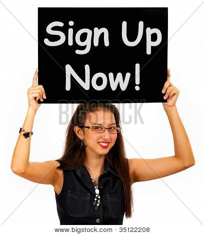 Sign Up Now Message Shows Immediate Registration