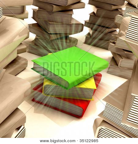 Red Yellow Green Books Between Several Columns Of Another Books
