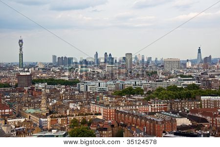 Central London skyline looking towards the City, aerial view