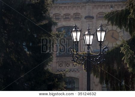 Antique Metal Street Lamp In Front Of Building