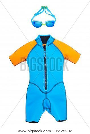 Bathing Suit And Goggles For Swimming On A White Isolated Background