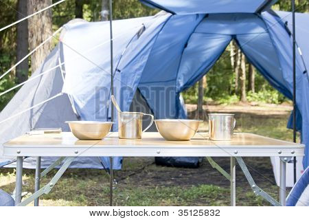 Tourist Utensils Near Camping Tent