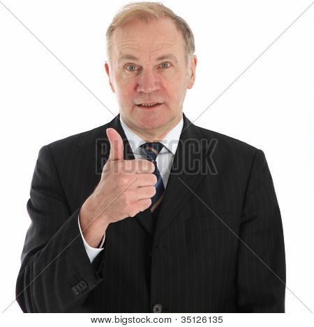Elderly Businessman Giving Thumbs Up