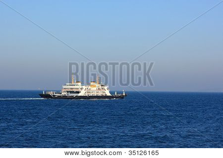 Ferryboat In The Sea With Copyspace