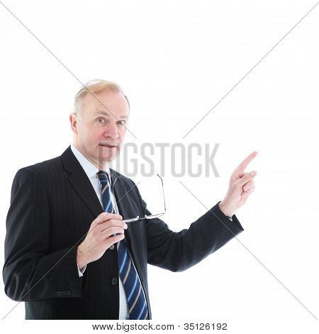 Motivated Businessman Pointing