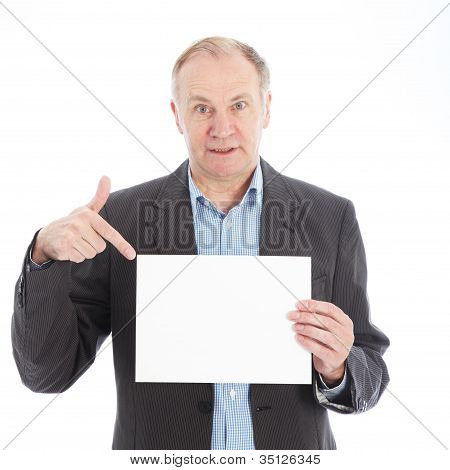 Businessman Pointing To Blank Card