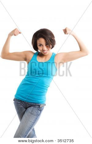 African American Woman Flexing Arms