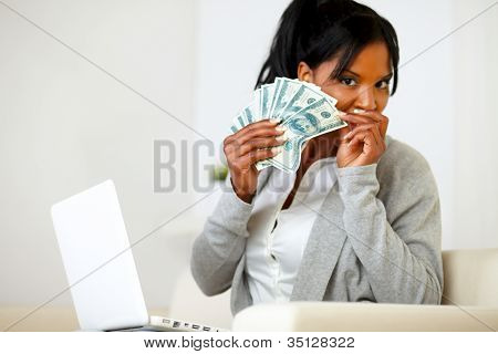 Ambitious Excited Black Woman With Money