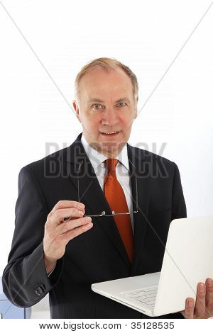 Charismatic Businessman With Laptop
