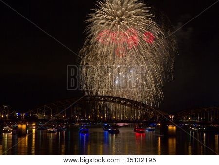 Firework Over The Rhine River