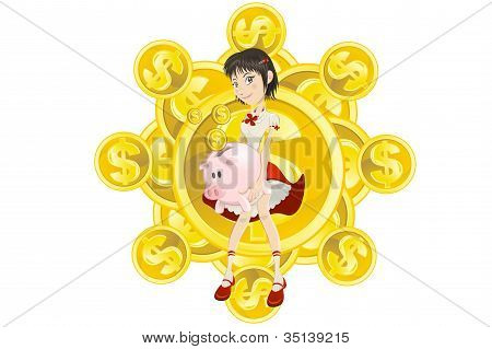 Girl, Piggy Bank And Gold Coin