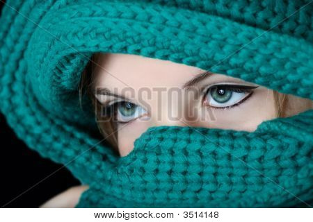 Woman With Black Make-Up On Eyes