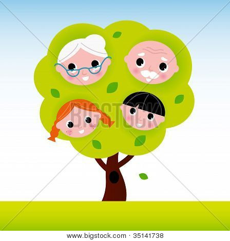 Árvore de família com avós e crianças